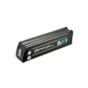 סוללה לאופניים חשמליים ליתיום-יון  36V 10.4Ah נשלפת, במארז שחור.